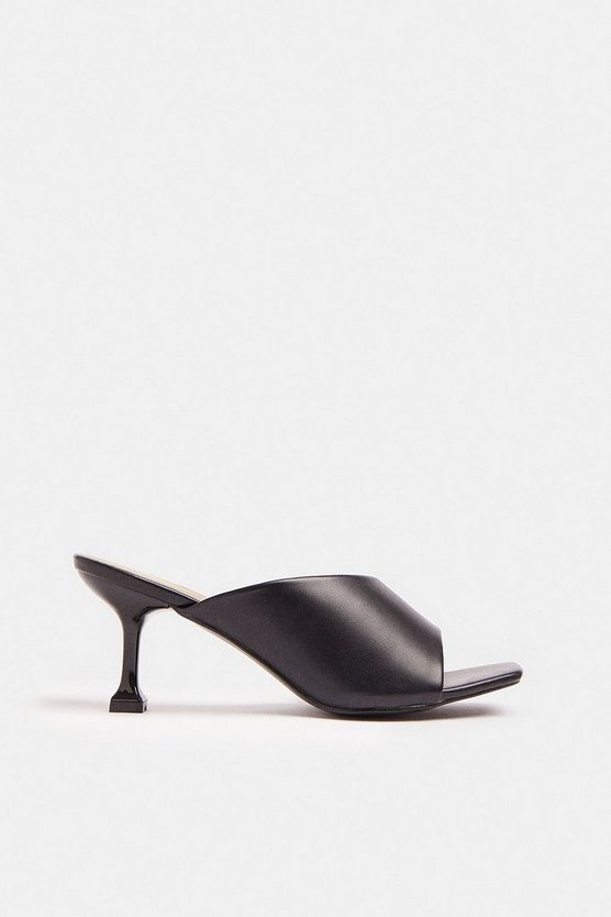 Black Heeled Asymmetric Mule