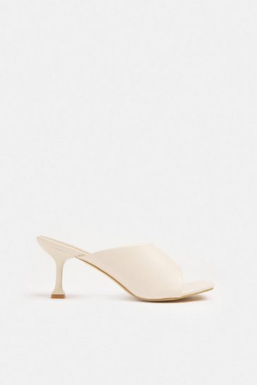 Cream Heeled Asymmetric Mule
