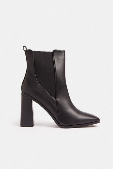 Black Square Toe Heel Boot