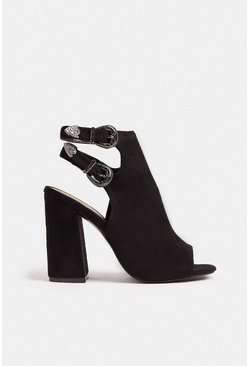 Black Two Strap Open Toe Boot