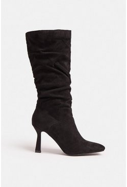 Black Knee High Ruched Heel Boot