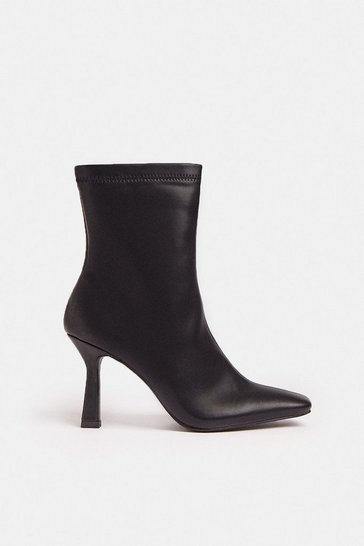 Black Square Toe Thin Heel Boot