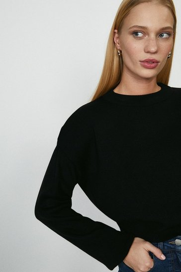Black Shoulder Frill Jumper