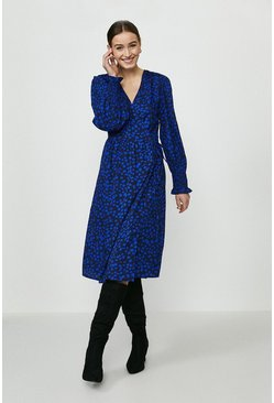 Blue Spot Midi Wrap Dress