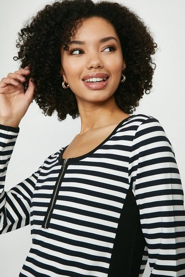 Mono Zip Front Stripe Top