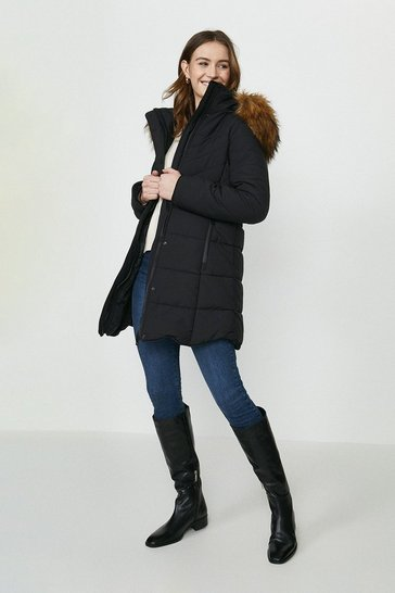 Black Red Chilli Faux Fur Hood Puffer Coat