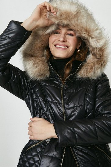 Black Red Chilli Faux Fur Hood Short Puffer Coat