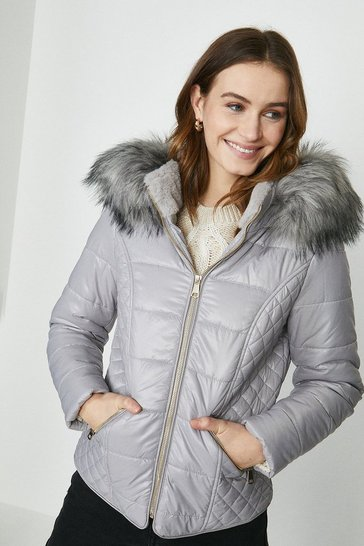 Grey Red Chilli Faux Fur Hood Short Puffer Coat