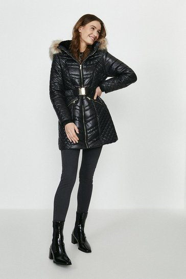 Black Red Chilli Faux Fur Hood Belted Puffer Coat