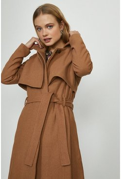 Camel Bellfield Wool Coat With Tie Belt
