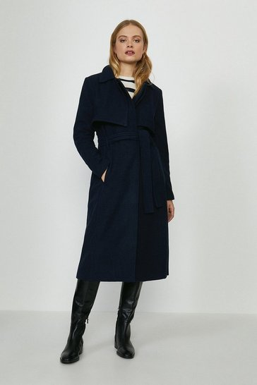 Navy Bellfield Wool Coat With Tie Belt