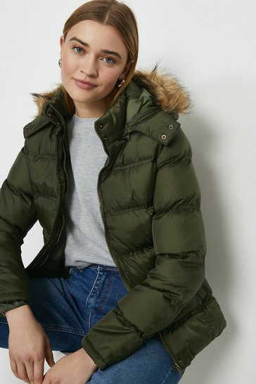 Khaki The Rockn Rev Faux Fur Trim Hooded Puffer Coat