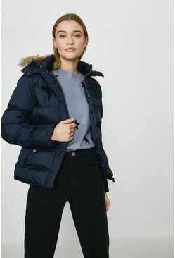 Navy The Rockn Rev Faux Fur Trim Hooded Puffer Coat