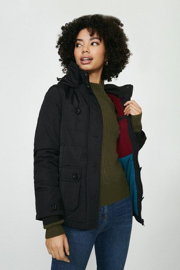 Black Bellfield Hooded Coat