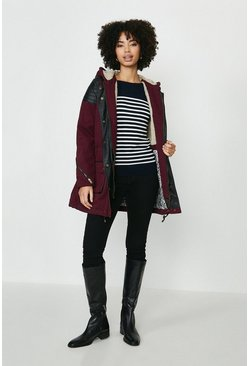 Burgundy Bellfield Parka With PU Shoulder Panels