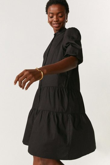 Black Button Through Poplin Smock Dress