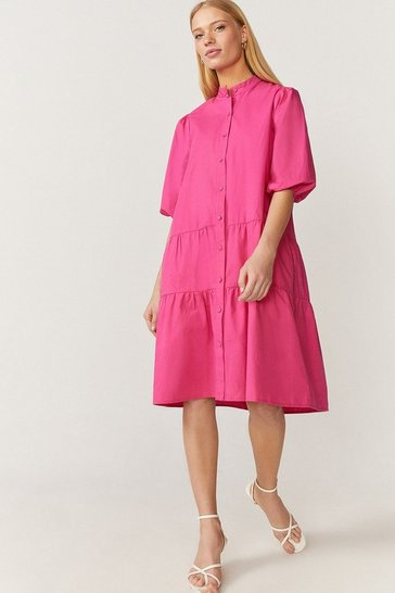 Hot pink Button Through Poplin Smock Dress