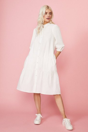 Ivory Button Through Poplin Smock Dress