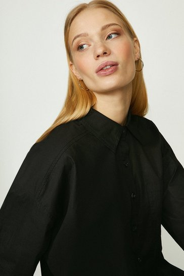 Black Relaxed Poplin Tunic