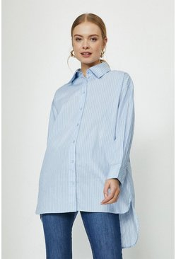 Blue Stripe Cross Back Oversized Shirt