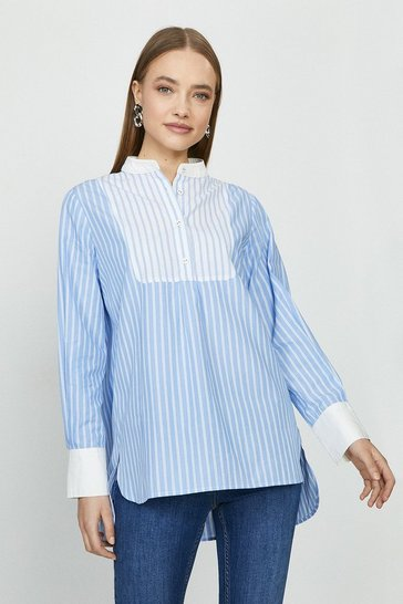 Blue Mixed Stripe Collarless Shirt