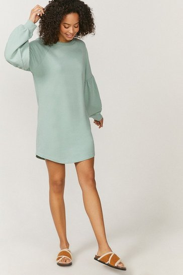 Green Drop Sleeve Sweat Dress