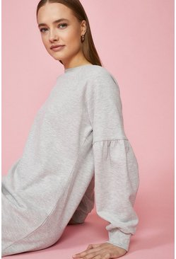 Grey marl Drop Sleeve Sweat Dress