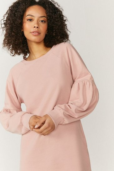 Pink Drop Sleeve Sweat Dress