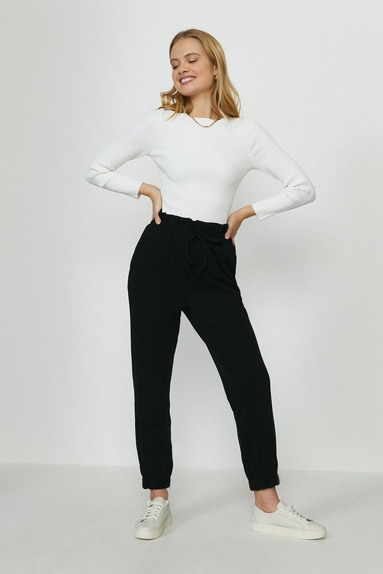 Black Pull On Soft Crepe Trouser