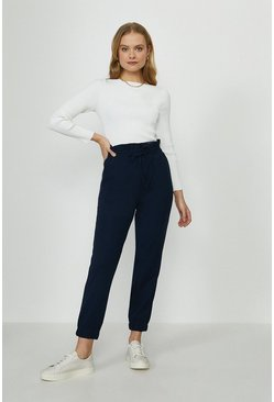 Navy Pull On Soft Crepe Trouser