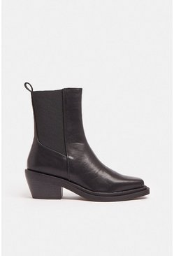 Black Low Heel Pu Boot