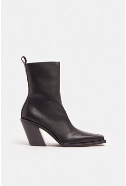 Black Chunky Block Heel Pu Boot