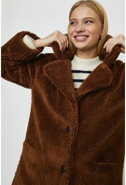 Rust Qed London Teddy Coat With Pockets