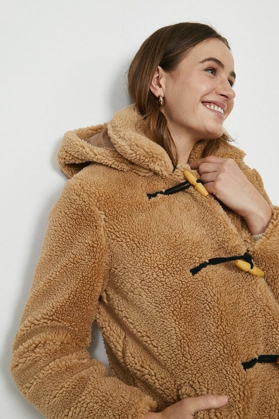 Sand Qed London Teddy Coat With Toggles