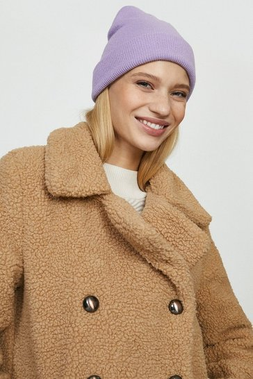Camel Qed London Double Breasted Teddy Coat