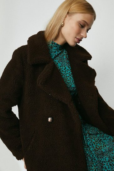Chocolate Qed London Double Breasted Teddy Coat