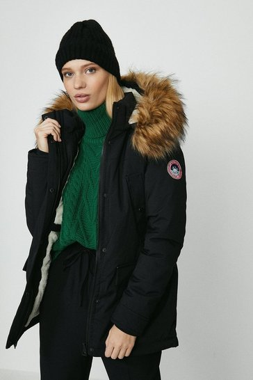 Black Qed London Padded Parka Coat