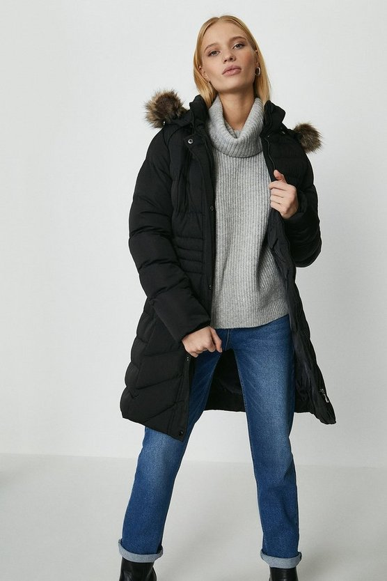 Black Qed London Puffer Parka Coat
