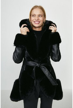 Black Copper Rose Pu And Faux Fur Mix Belted Coat