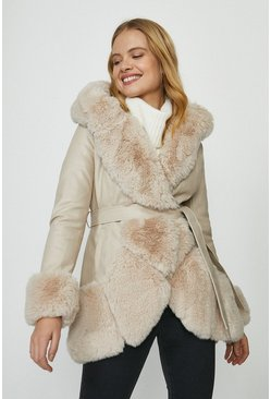 Ivory Copper Rose Pu And Faux Fur Mix Belted Coat