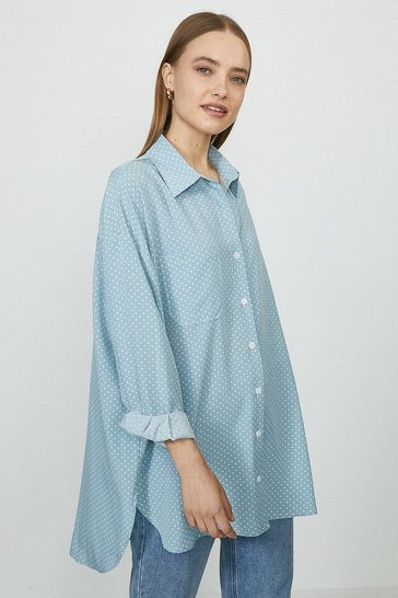 Blue Relaxed Pocket Detail Spot Shirt