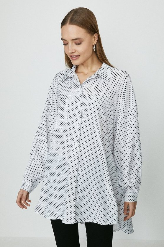 Ivory Relaxed Pocket Detail Spot Shirt