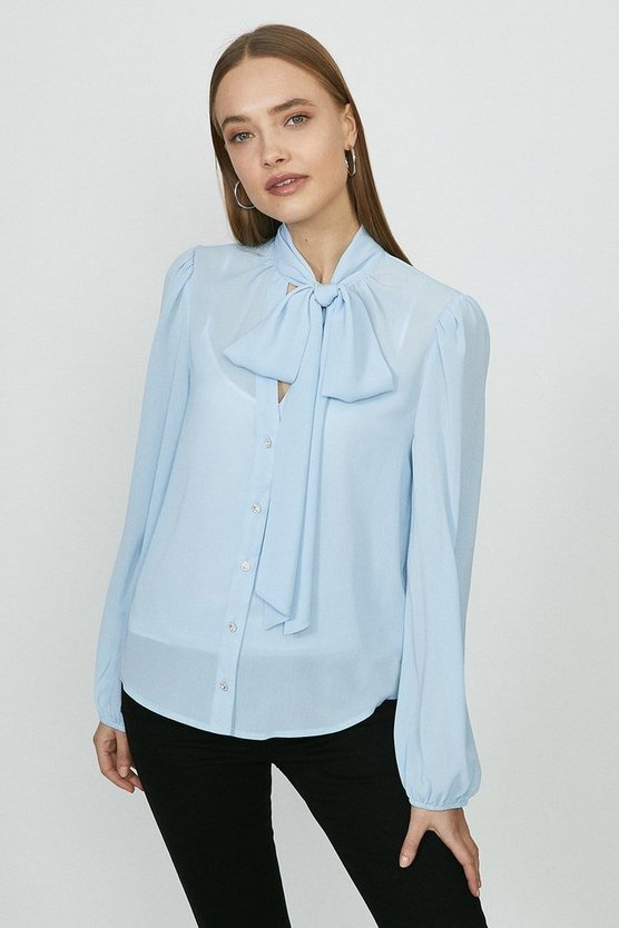 Blue Balloon Sleeve Pussybow Blouse