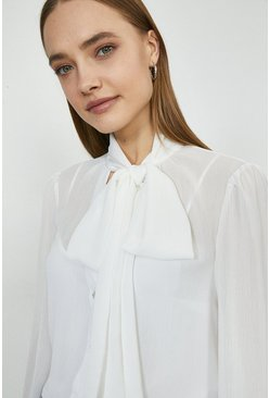 Ivory Balloon Sleeve Pussybow Blouse