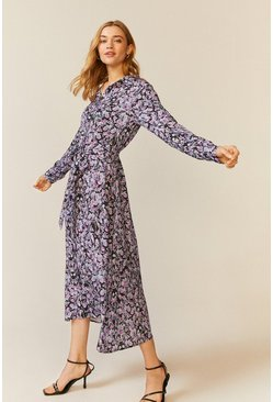 Purple Floral Printed Shirt Dress