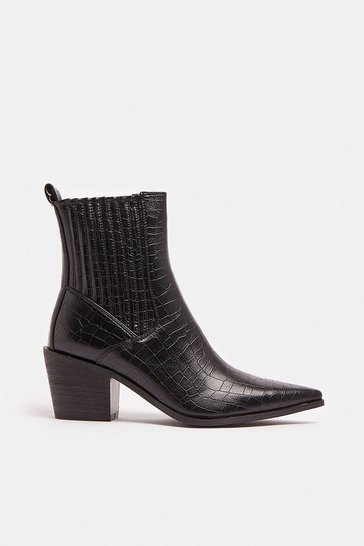 Black Croc Western Low Heeled Boot