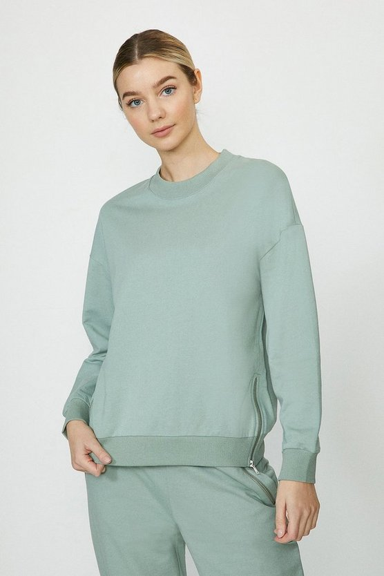 Khaki Zip Detail Sweatshirt