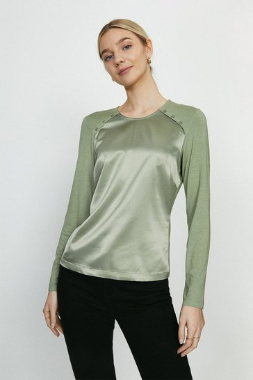 Khaki Long Sleeve Woven Front Top