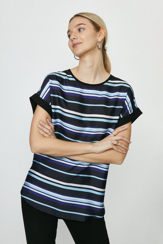 Blue Woven Front Jersey Back T-Shirt