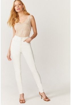 Ecru London Skinny High Waisted Shaper Jean